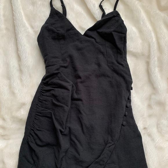Slick black mini dress